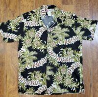 Hilo Hattie Hawaiian Original Pineapple Palm Black Button Down Shirt Mens 2XL