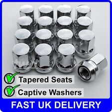 16x ALLOY WHEEL NUTS FOR FORD FOCUS (M12x1.5) WITH CAPTIVE WASHER CHROME -VV40
