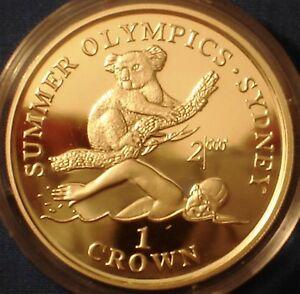 Gibraltar 1 crown silver proof 1999 Sydney Olympic Games - Koala Bear & Swimmer
