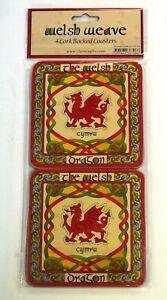 Set of 4 cork backed COASTERS , CELTIC WELSH DRAGON  design, Wales / Cymru