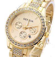 Ladies Womens GOLD Geneva Chronograph Designer Style Crystals Bling Watch