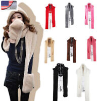 US Fashion Womens 3-in-1 Winter Warm Plush Soft Hats Hooded Scarf Glove Hat Set