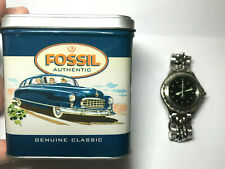 FOSSIL Watch Blue 50M Analog w/ Authentic Tin No Numbers Glo Dial