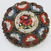 Italian Micro Mosaic Flower Pin Brooch 1-116 Oval Handmade Art SALE