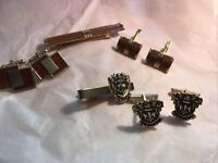 Vintage Swank Signed Tie Bar/ Leather Inlay + 2 Sets Of Cufflinks/ Pat. Set Also