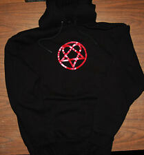 Hoodie - HIM - Heartagram - Heavy Weight Sweatshirt - Black - Rare Shimmer Print