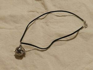Aromatherapy Necklace essential oil stone with cage locket black leather