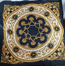 Echo Square Scarf VTG Black Gold White 100% Silk Square Scarf Horse Theme Design