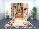 "Moroccan Boujaad Handmade Rug 5'4""x9' Berber Abstract Orange Black Wool Rug"