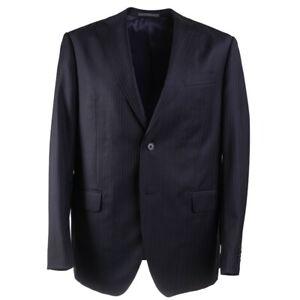 NWT $1375 LUIGI BIANCHI Slim-Fit Midnight Navy Blue Stripe Wool Suit 46R