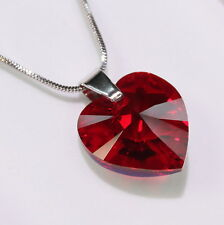 Red Heart Swarovski Elements Necklace Crystal Pendant Women Gifts Ladies !