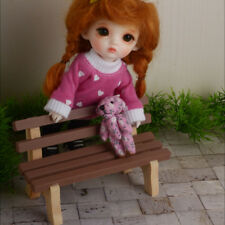 1/12 Scale DOLL furniture Bebe Doll Size - Denmark Wood Mini Bench (Brown)