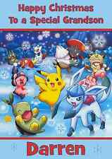 Pokemon A5 personalised Christmas card son daughter nephew niece grandson name