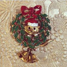 Christmas Brooch Butler & Wilson Cat in xmas wreath Novelty Pin