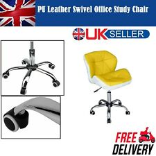 Cushioned PU Leather Computer Desk Office Study Chair Chrome Legs Lift Swivel UK