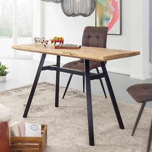 WOHNLING Esstisch 120 x 60 cm Esszimmertisch Natur Küchentisch Holz Massiv Tisch