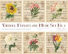 VINTAGE FLOWERS & MUSIC FABRIC PANEL / PATCH / BLOCK SET OF 6 DIGITALLY PRINTED