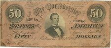 1864 $50 CONFEDERATE CIVIL WAR PAPER MONEY CURRENCY - JEFFERSON DAVIS - NICE