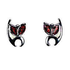 ALIEN KITTY EARRINGS Post Stud Pair Cat Stainless Steel NEW Gift Jewelry Red Eye