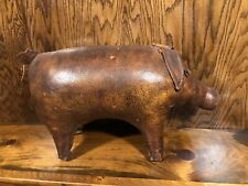 Rare Vintage Dimitri Omersa Leather Pig Abercrombie & Fitch Footstool 1950's Htf