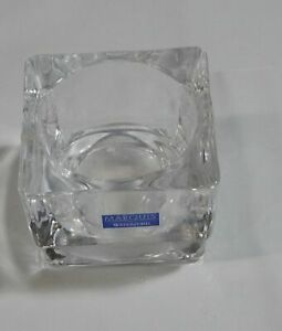 """USED Waterford Marquis Crystal """"City"""" Square Votive Candle Holder Labeled"""