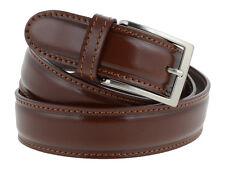 Cintura uomo pelle marrone classica con impuntura 125cm (taglia pantalone 52/54)