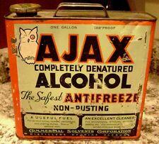 AJAX Antifreeze Can w/ OWL Winking -- antique One Gallon -- Denatured Alcohol