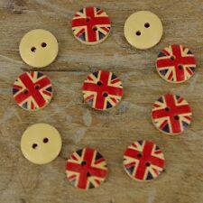 12mm CERCHIO Union Jack Regno Unito in Legno Bottoni 2 Fori Da Cucire Cappotto Craft X 10 B30