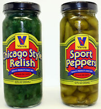Vienna Beef Condiments-Chicago Style Relish and Sport Peppers 12 oz Jars GoCubs!