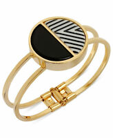 NWT Kenneth Cole Goldtone Black White Modern Stripe Hinged Bracelet MSRP $78.00