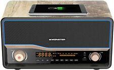 Monster Audio Retro  Speaker Bluetooth Wireless FM Radio Alarm Qi Charger