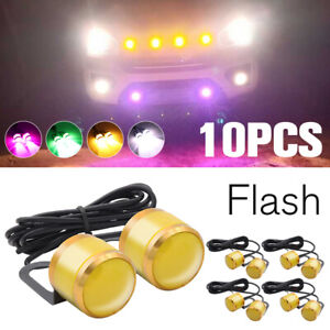 10x Amber LED Eagle Eye Daytime Running Strobe Car DRL Rock Lamp Backup Light