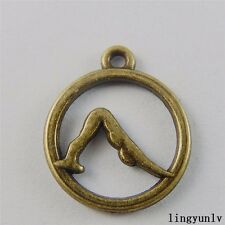 Antique Bronze Alloy Yoga Sport Round Shape Pendants Charms Crafts Jewelry 20pcs