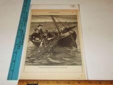 Rare Antique Original VTG c 1900 Fisherman Fishing Chatterbox Art Print