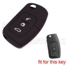 3 Buttons Black Key Fob Case Cover Skin Key Jacket Cover Protector fit for Ford