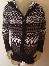 NWT Jon & Anna New York Black Multi Hooded Cardigan Sweater Womens Medium M