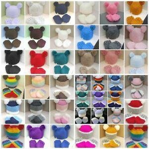 Handmade crochet baby boy girl pompom Hat & mittens 0 - 3 years