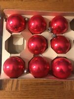 Set Of 8 Red Glass Christmas Ornaments