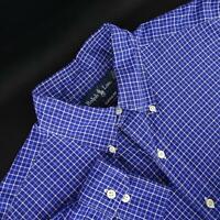 Mens Polo Ralph Lauren Classic Fit Blue Plaids Golf Dress Shirt Size 16 Large