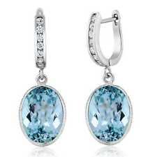 Blue Topaz Oval Shape 925 Sterling Silver 14.00 Carat Women's Dangle Earrings