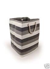 New England Black & White Stripe Heavy Duty Fabric Large Square Storage Bag