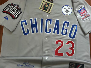GRAY Brand New Ryne Sandberg Chicago Cubs #23 Cooperstown w/3Patches SEWN Jersey