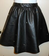Divided H&M Ladies Faux Leather Studded Mini Skirt Black Eight (8) NWT