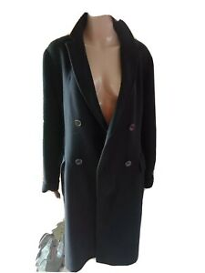 Max Mara Wool Coat Jacket Double Breasted Pockets Longline Designer