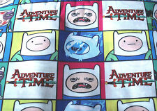 Fat quarter Adventure Time Finn the Human print polycotton fabric white