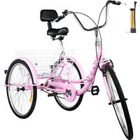 Foldable Adult Tricycle Folding Adult Trike 26'' 1 Speed Pink Bikes w/Basket