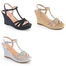 """FABULICIOUS Silvie-20 Shimmering Rhinestone Dress Party 3"""" Wedges Sandals Heels"""