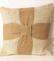 Burlap Pillow Cover Primitive Natural Ribbons Ecru 16x16 Inches