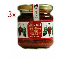 3x Mr Naga Very Hot Pepper Pickle 190G - Naga Pepper Pickle (Hot Pepper Paste)