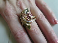 18K Gold Emerald Ruby Sapphire Diamond Ring Size 8.5 (#710)